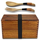 Bento Box, Bento Boxes for Adults, AOOSY Japanese Vintage Traditional Natural Square Wooden Lunch Food Containers Storage For Women's Men's Kids Boys Office School, Wood Lunch Boxes with Spoon Fork (Color: A Lunch Box with Spoon Fork, Tamaño: japanese box)