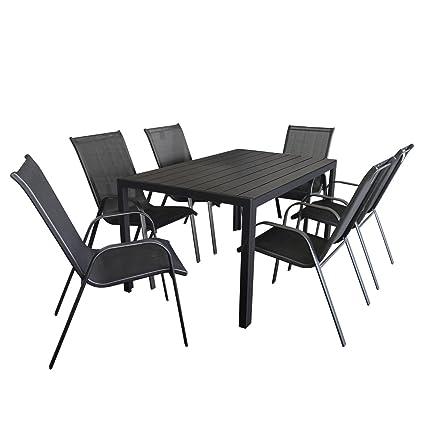 7tlg. Gartengarnitur Sitzgruppe Sitzgarnitur Terrassenmöbel Gartenmöbel Set - Gartentisch, Polywood-Tischplatte, 150x90cm + 6x Stapelstuhl, Schwarz