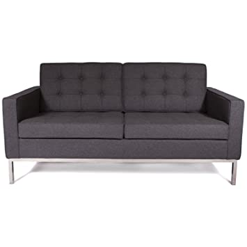 Modern Florence Style Sofa Set Wool (Dark gray, Love seat)