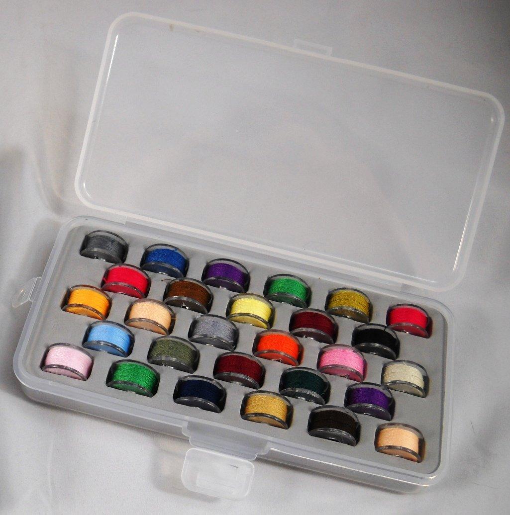 Bobbin Box Organizer with 28 Bobbins Threaded with Assorted Color Thread