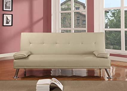 Large Stunning Italian Designer Faux Leather 3 Seater Sofa Bed Futon in CREAM by Comfy Living