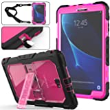 Galaxy Tab A 10.1 T580/T585 Case (NOT for other 10.1 Tablet), Full-Body [Heavy Duty]&[Shock Proof] Hybrid Armor Protective Case with Kickstand & Portable Strap for Samsung Tab A 10.1 Inch (Rose+Black) (Color: Rose+Black)