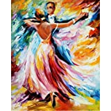 Moohue Modern Embroidery Pattern Oil Painting Elegant Dance 14CT Counted Cross Stitch Kits DMC Cotton Thread Craft Supplies (Elegant Dance) (Color: Elegant Dance)