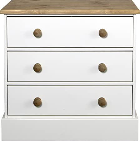 Steens - Cassettiera a 3 cassetti con pomelli in legno di pino, colore bianco