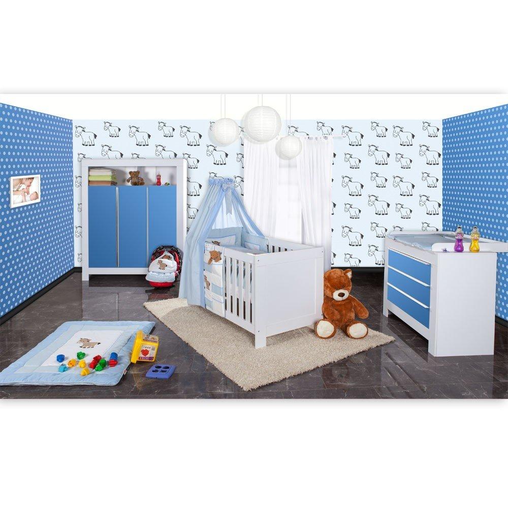 Babyzimmer Felix in weis/blau 21 tlg. mit 3 türigem Kl + Prestij in blau