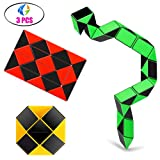 Ganowo Speed Cube Snake Ruler Cube Puzzle Pack | 24 Wedges Twist Puzzle Toys | 3 Magic Snake Cubes Collection in 1 Box | Stickerless Cube Toys (Color: 24 Parts Black)