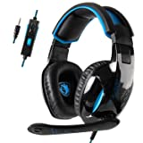 SADESGaming Headset PS4 Headset with 7.1 Surround Sound, Xbox One Headset with Noise Canceling, Over Ear Headphones Compatible w/ PS4, Xbox One(Adapter Not Included), PC, Laptop, NS, Over-Ear Gaming (Color: SA-816)