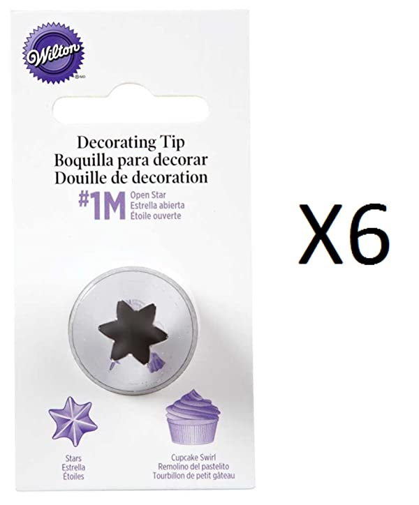 Wilton #2110 (1M) Open Star Decorating Tip for large Coupler - Pack of 6 Tips (Color: Silver)