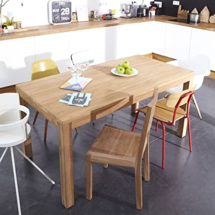 Tikamoon Coffee Tek Table, Teck, Beige, 160 x 80 x 80 cm