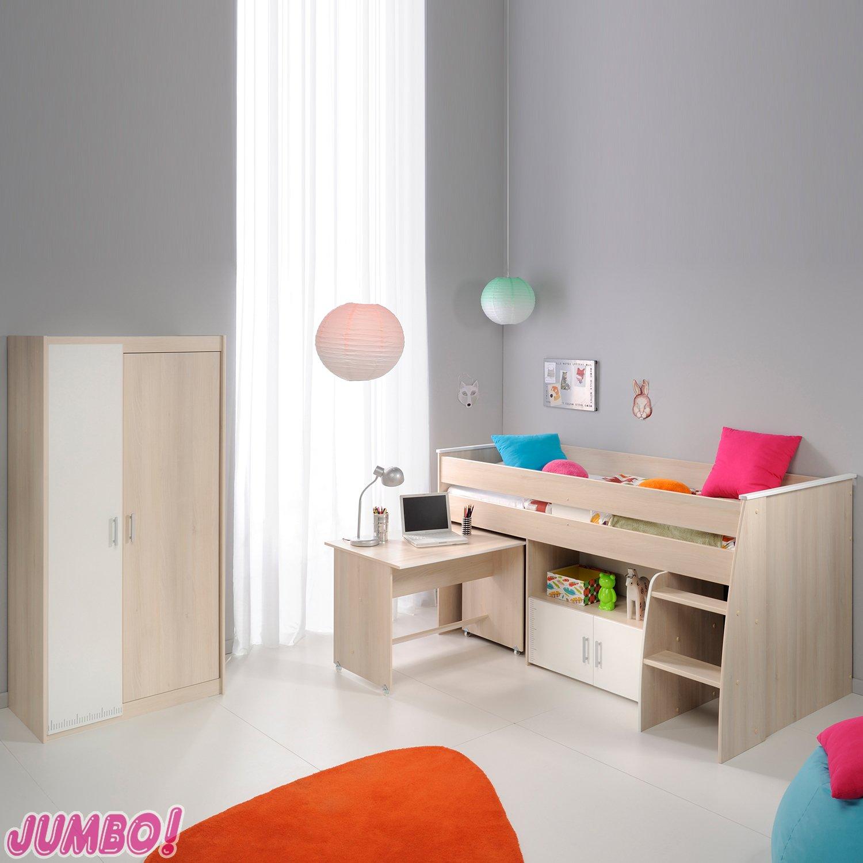 Jumbo-Möbel Charly 5 Etagenbett und Kleiderschrank in Akazie Dekor Weiß Melamin günstig bestellen