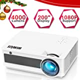 Projector, WiMiUS Upgraded P18 4000 Lumens Full HD LED Projector Support 1080P 200