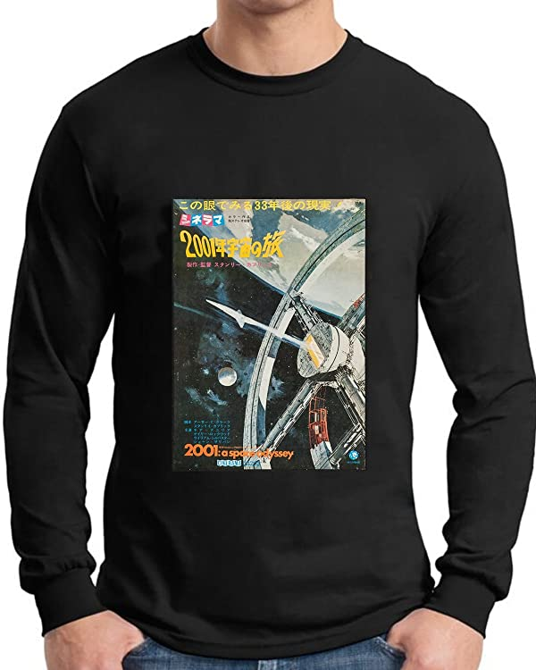 2001 Space Odyssey Poster T Shirt Long Sleve In Japanese (Color: Black,  Tamaño: XX-Large)