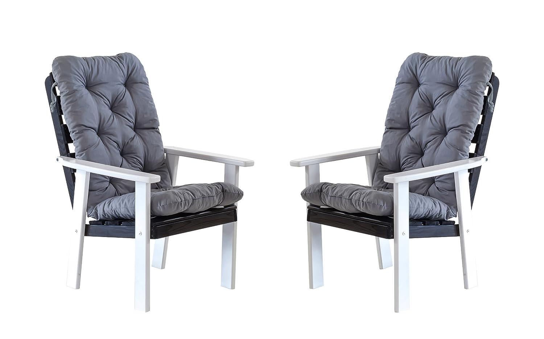 Ambientehome 90389 Gartensessel Gartenstuhl Loungesessel 2-er Set Massivholz Hanko Maxi mit Kissen, weiß / grau jetzt bestellen