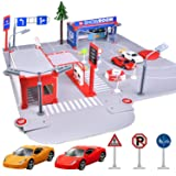 FunLittleToys Gas Station Toy Parking Garage Toy Playset with 2 Mini Cars for Boys