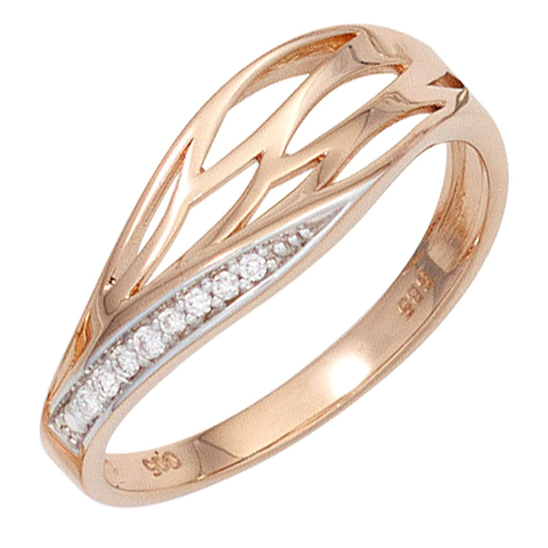 Damen Ring 585 Rotgold teilrhodiniert 8 Diamanten Brillanten online kaufen