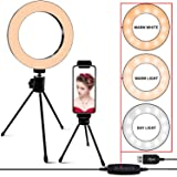 6.3 Selfie Ring Light with Stand,LED Camera Light with Cell Phone Holder for YouTube Video,Photography,Makeup,Desktop LED Lamp Compatible with iPhone