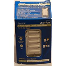 Leviton LTB02-1LZ Decora 1800W Incandescent/20A Resistive-Inductive 1HP Preset 15-30-60-120 Minute Countdown Timer Switch, White/Ivory/Light Almond