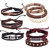 Casoty 16 PCS Mens Leather Bracelet Wrap Cuff Bracelets with Hemp Cords Wood Beads Adjustable Ethnic Believe Charm Bracelets
