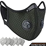 BASE CAMP Dust Breathing Mask Activated Carbon Dustproof Mask with Extra Carbon N99 Filters for Pollen Allergy Woodworking Mowing Running Cycling Outdoor Activities (Dark Green) (Color: Dark Green)