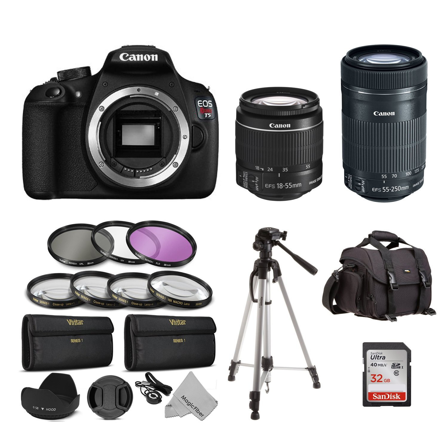 Canon EOS Rebel T5 Digital SLR Camera - $550 With 18-55mm and 55-250mm STM Lens + 16 Piece Deluxe Accessory Kit Bundle