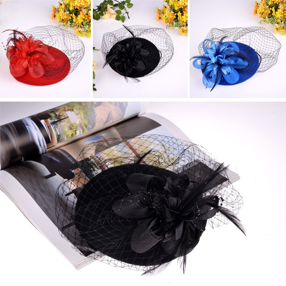 Vbiger Women's Fascinator Wool Felt Pillbox Hat Cocktail Party Wedding Bow Veil 2