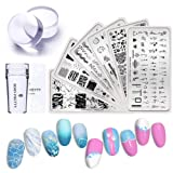 BORN PRETTY Nail Stamping Plates Set 6Pcs Texture Theme Fruit Lemon Watermelon Image Rectangle Stamp Templates with Stamper and Scraper 2Pcs Stamper Head (Color: Summer Fruit Set)