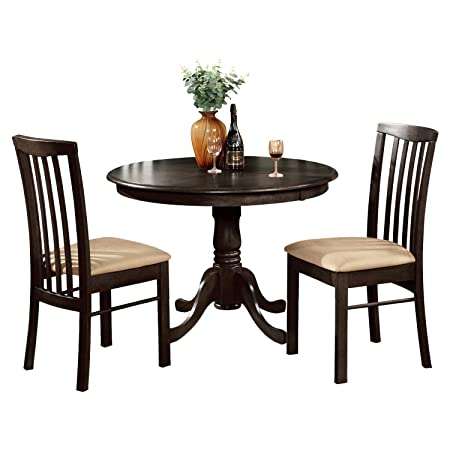 East West Furniture HART3-CAP-C 3-Piece Kitchen Table and Chairs Set, Cappuccino Finish