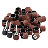 50pcs 400 Grits 1/2 Inch Sanding Bands Sanding Sandpaper Sleeves with 5pcs Sand Drum Mandrels for Nail Drill