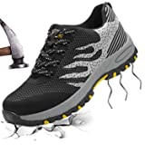 JACKSHIBO Steel Toe Shoes Men, Work Safety Shoes Breathable Industrial Construction Shoes Outdoor Hiking Shoes (Color: 113 Black, Tamaño: 11 M US)