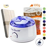 Wax Warmer,Portable Electric Hair Removal Waxing Kit for Facial Bikini Area Armpit With Hard Wax Beans (300g) and Wax Applicator Sticks (50 pcs),Self-waxing Spa in Home For Girls Women Men (Color: Hair removal waxing kit)