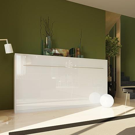 Armario con cama de 90cm vertical sin colchón, color blanco