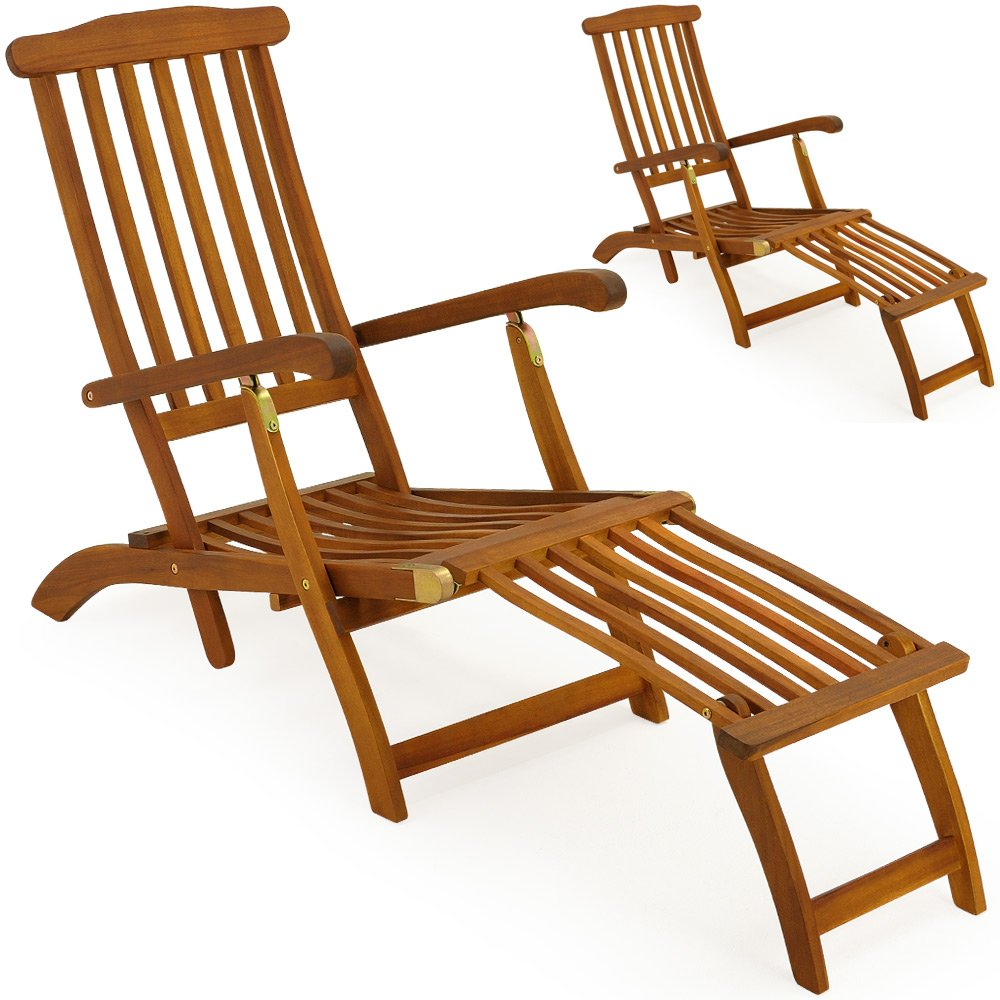 2x hartholz deckchair sonnenliege liegestuhl holz liege. Black Bedroom Furniture Sets. Home Design Ideas