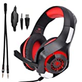 Beexcellent GM-1 Over-Ear Wired 3.5mm Pro Gaming Headset Surround Sound Gaming Headphone with LED Effect and Microphone for PC, Laptop, Tablet, PS4, Xbox, Cell Phone (Red) (Color: Red)