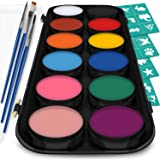 Face and Body Paint Kit for Kids – Set of 12 Classic Colors with Flat and Detail Painting Brushes – Comes w/ 30 Design Stencils – Non Toxic, Water Based and FDA Compliant (Tamaño: 12)