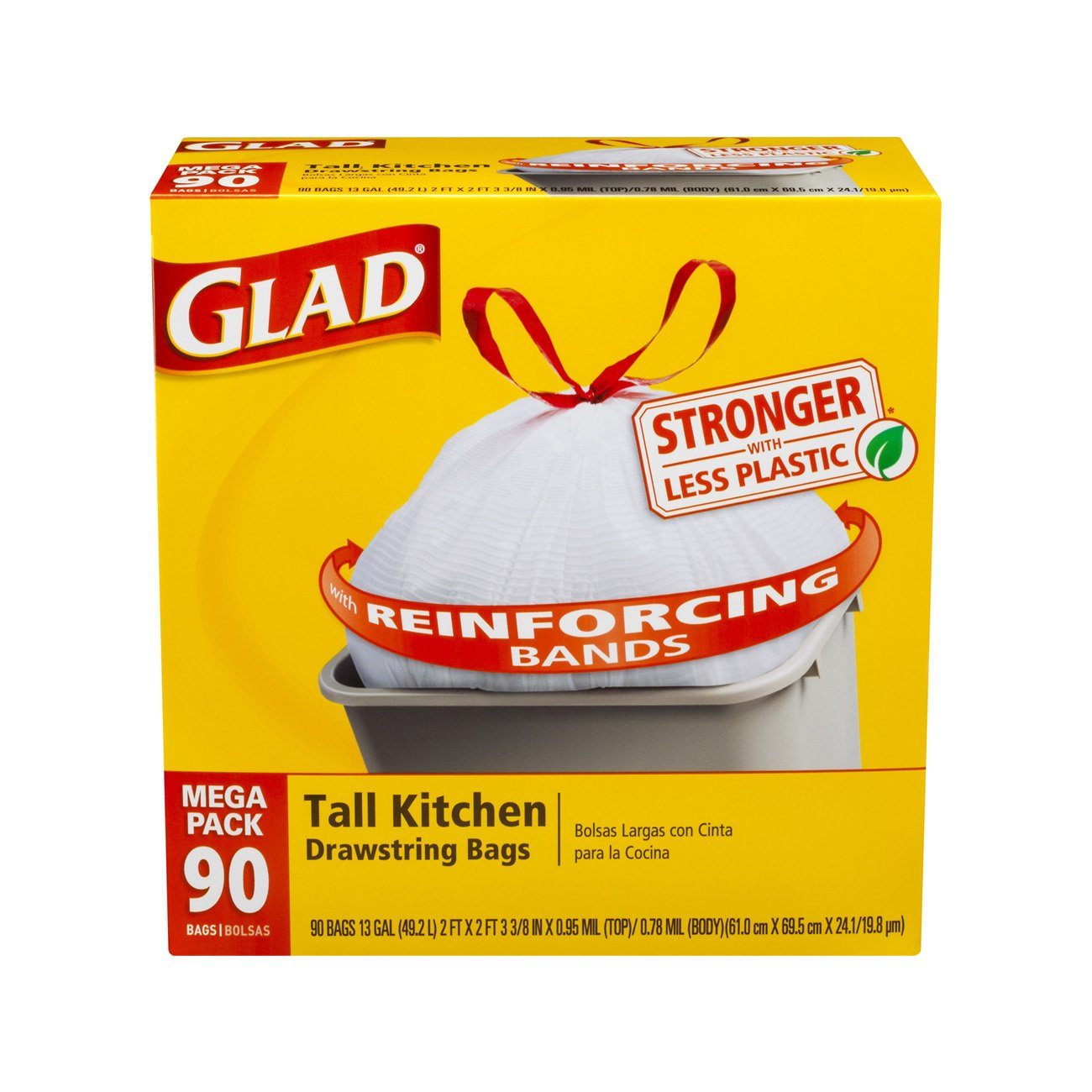 Kitchen Garbage Bags: NEW Glad Tall Kitchen Drawstring Trash Bags 13 Gallon 90