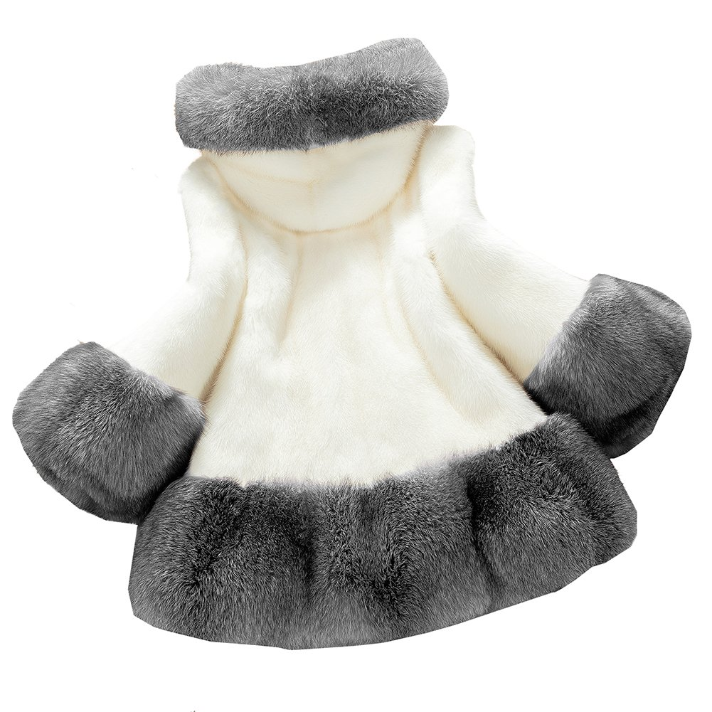 Lkous Women's Vintage Style Luxury Faux Fur Coat with Hooded Collar 2