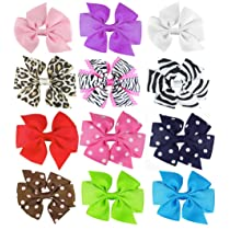 HipGirl Boutique Girls 12pc Set 4-4.5 Large Grosgrain Ribbon Pinwheel Hair Bow Clips Barrettes-One Size