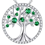 May Birthstone Created Emerald Necklace The Tree of Life Love Pendant Birthday Mothers Day Gifts Sterling Silver Jewelry for Mom Her Wife Family