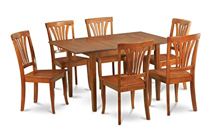 East West Furniture MLAV7-SBR-W 7-Piece Kitchen Nook Dining Table Set