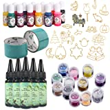 5 Pieces 30ML Crystal Epoxy Resin 13 Color Liquid Pigment 12 Glitter Sequins 17 Metal Jewelry with 2X 5 Meters Tape For DIY Handcraft Jewelry Earrings Necklace Bracelet Nail Art Accessories (Tamaño: Resin+Pigment+Metal+Sequins)