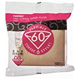 Hario V60 Paper Coffee Filters, Size 3, 100 Count, Brown