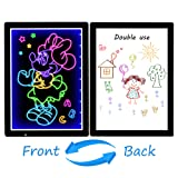 USB LED Writing Board, 12.8x9.5inch Electronic Neon Illuminated Kids Drawing Board, LCD Writing Message Board Handwriting Pad with Erasable Chalk Marker, Business Sign, Office Memo & Home Note (Color: Black, Tamaño: Writing Board)