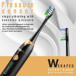 WAGNER Switzerland JUBILEE EDITION SuperSonic toothbrush with PRESSURE SENSOR. 5 Brushing Modes and 4 INTENSITY Levels with 3D sliding control, 8 DuPont Bristles, Premium Travel Case, (Black) (Color: Black)