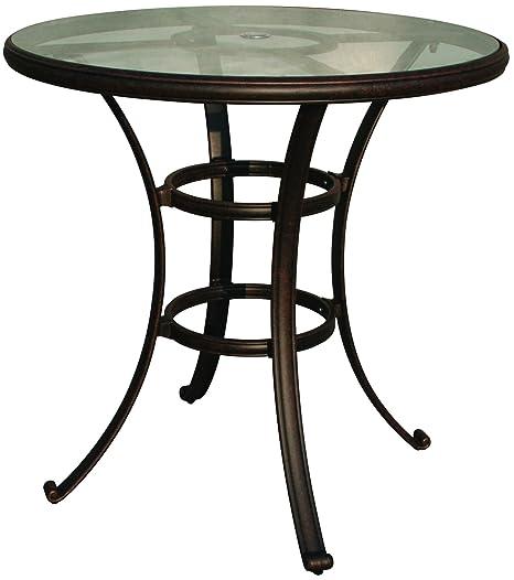 "Darlee Cast Aluminum Glass Top Round Bar Table, 42"", Antique Bronze Finish"