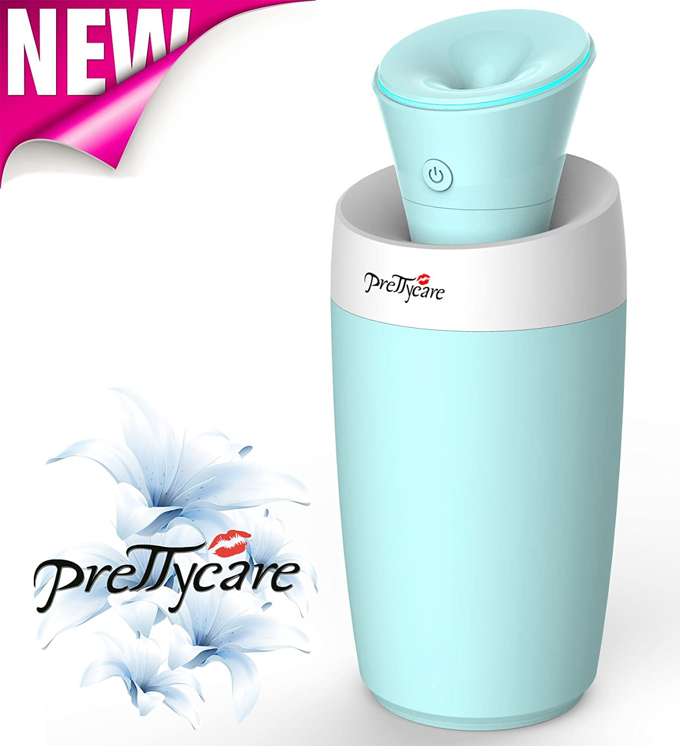 Cool Mist Ultrasonic Humidifier- New Design By PrettyCare - Personal Humidifier - Portable Humidifier - Mini Travel Air Humidifier - Quiet for Baby Room, Home, Car, Face, Office + Water Bottle