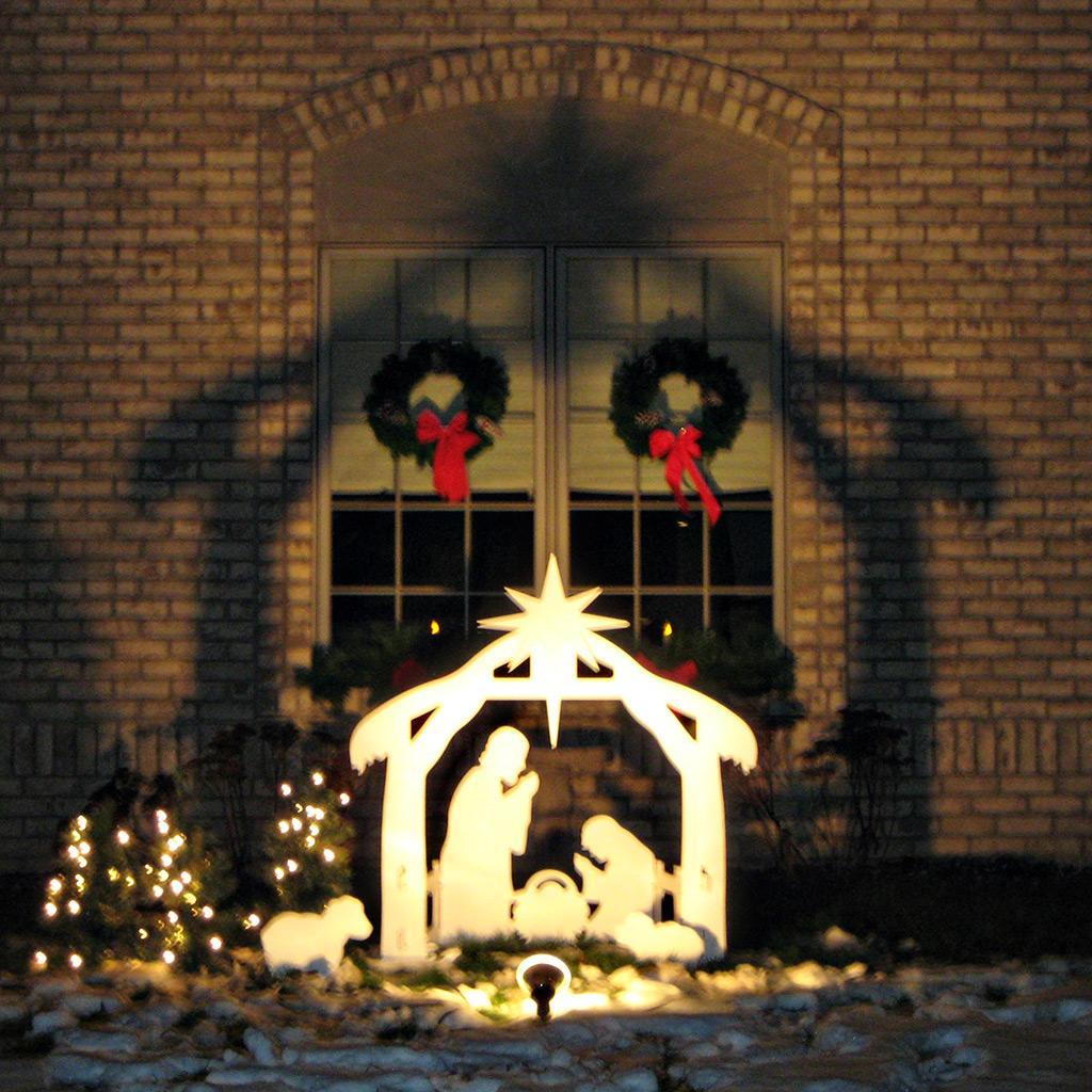 Nativity scene christmas set outdoor wood holiday lighted for Outdoor lighted christmas