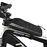 FlexDin Bicycle Frame Energy Bag (Small Size), Road Racing/Touring/Triathlon Aerodynamic Bike Top Tube Cycling Fuel Bag Food Pouch Waterproof 420D 0.4L Black (Color: Black)