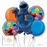 Andaz Press Balloon Bouquet Party Kit with Gold Cards & Gifts Sign, Sesame Street Cookie Monster Birthday Foil Mylar Balloon Decorations, 1-Set (Color: Sesame Street Cookie Monster)