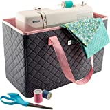 Everything Mary Deluxe Quilted Pink & Grey Sewing Machine Carrying Case - Sewing Machine Cover Case Tote Bag for Brother, Singer, Standard Size Machines - Sewing Bag with Handles for Travel (Color: Pink/Grey Quilted)