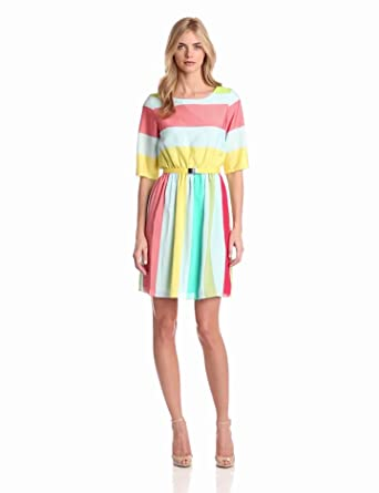 Gabby Skye Women's Stripe Belted Fit And Flare Dress, Light Blue Multi